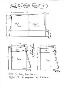 Esquema de modelagem de short saia fitness tamanho PP.