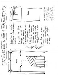 Esquema de modelagem da saia lápis com pregas na frente 54.