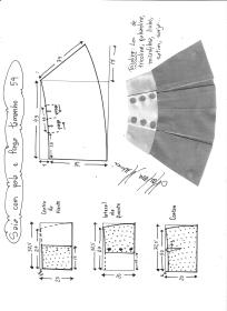 Esquema de modelagem de saia com pala e pregas fêmea tamanho 54.
