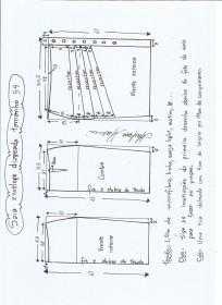 Esquema de modelagem de saia lápis com drapeado tamanho 54.