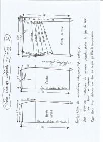 Esquema de modelagem de saia lápis com drapeado tamanho 56.