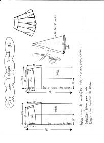 Esquema de modelagem de saia com nesgas e cós anatômico tamanho 36.