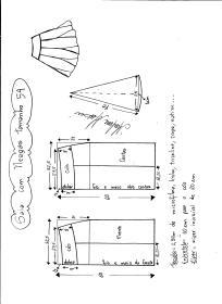 Esquema de modelagem de saia com nesgas e cós anatômico tamanho 54.