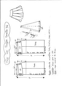 Esquema de modelagem de saia com nesgas e cós anatômico tamanho 56.