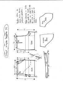 Esquema de modelagem de short simples cós médio tamanho 54.