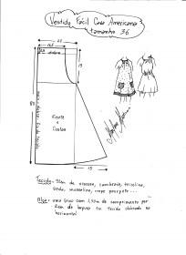Esquema de modelagem de vestido fácil com cava americana tamanho 36.