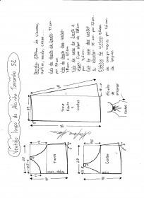 Esquema de modelagem de vestido de alcinha tamanho 52.