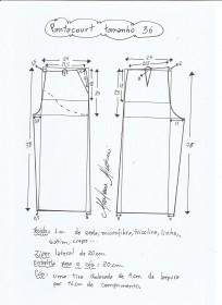 Esquema de modelagem de pantacourt tamanho 36.