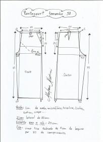 Esquema de modelagem de pantacourt tamanho 38.