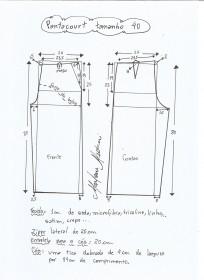 Esquema de modelagem de pantacourt tamanho 40.