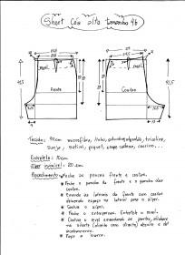 Esquema de modelagem de short cintura alta tamanho 46.
