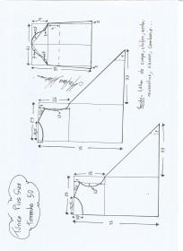 Esquema de modelagem de Túnica Plus Size tamanho 50.