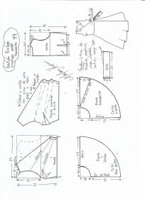Esquema de modelagem de vestido vintage envelope tamanho 44.