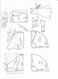 Esquema de modelagem de vestido vintage envelope tamanho 52.