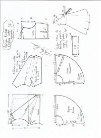 Esquema de modelagem de vestido vintage envelope tamanho 56.