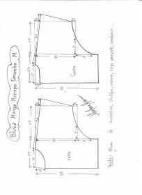 Esquema de modelagem de blusa manga morcego tamanho M.