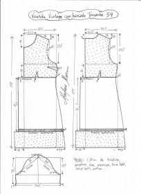 Esquema de modelagem de vestido vintage com babado tamanho 54.