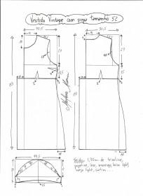 Esquema de modelagem de vestido vintage com prega tamanho 52.