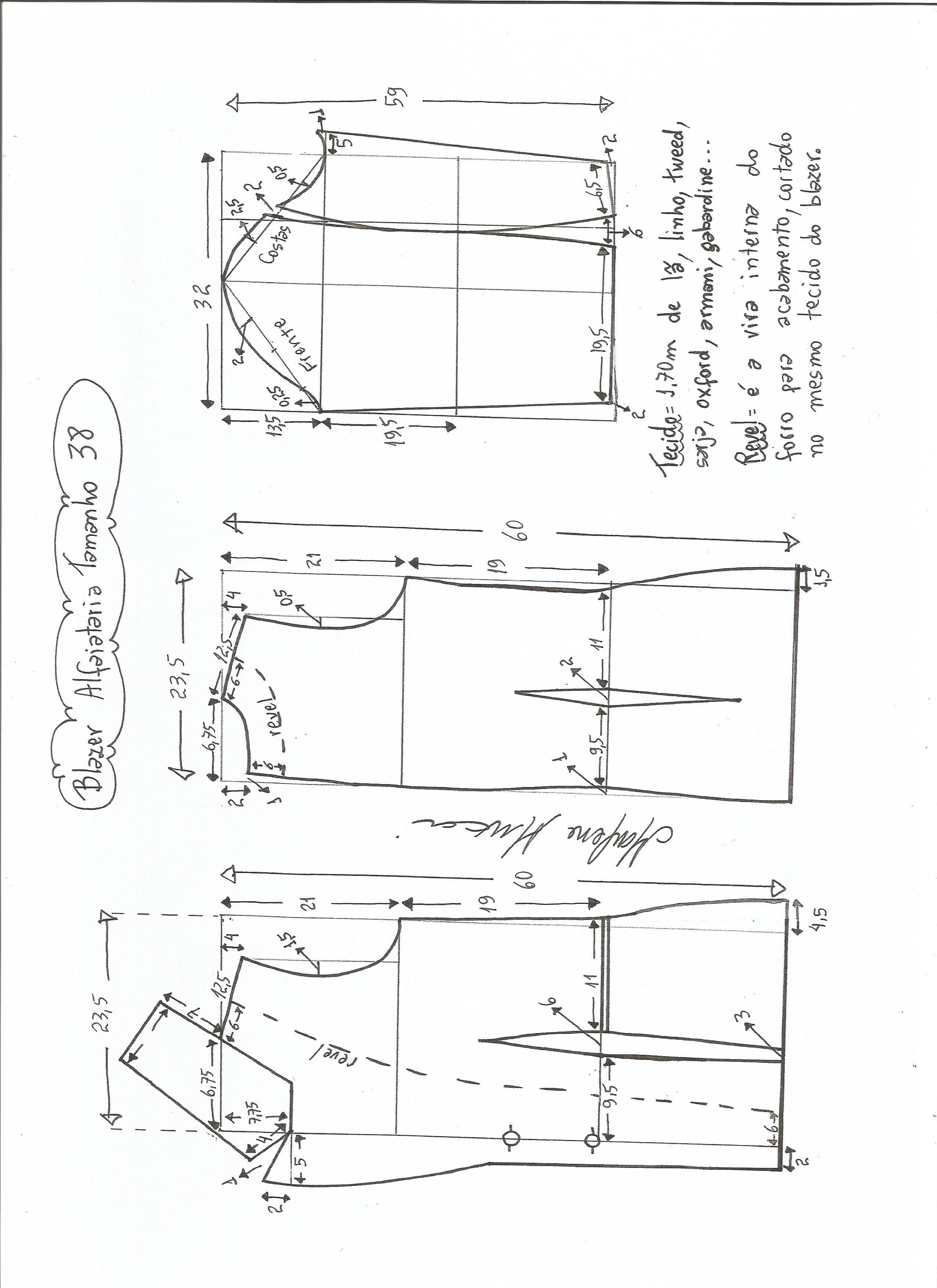 66a1e6026 Esquema de modelagem de blazer alfaiataria gola de bico tamanho 38.