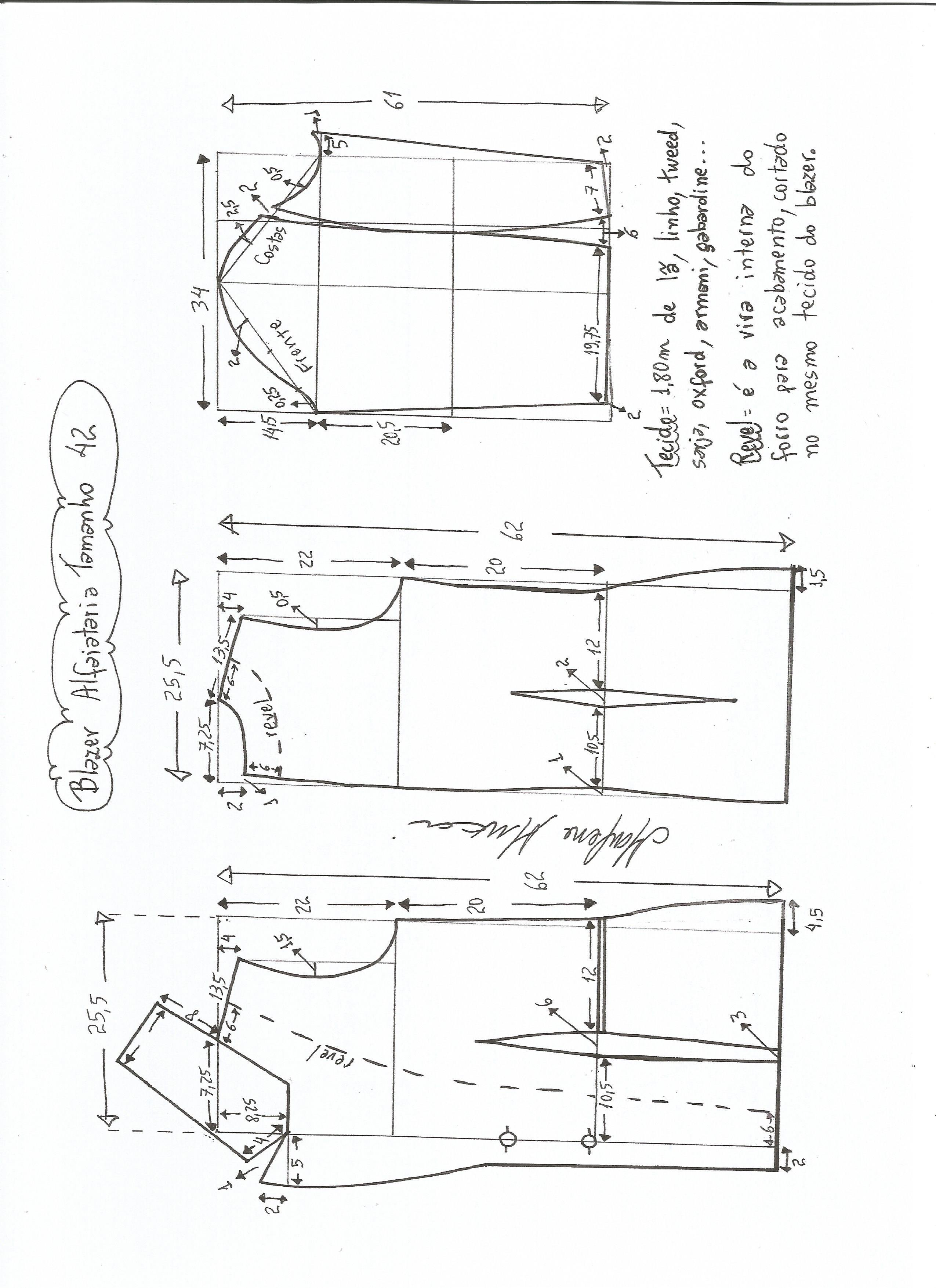 bf576ecc3 Esquema de modelagem de blazer alfaiataria gola de bico tamanho 42.