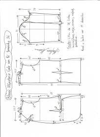Esquema de modelagem de blazer alfaiataria com gola em pé tamanho 36.