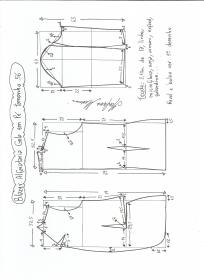 Esquema de modelagem de blazer alfaiataria com gola em pé tamanho 56.