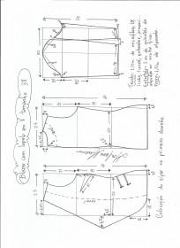 Esquema de modelagem de blazer com lapela tamanho 38.