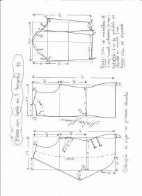 Esquema de modelagem de blazer com lapela tamanho 40.
