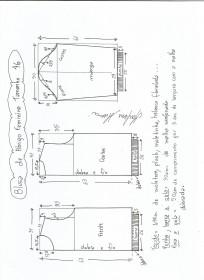 Esquema de modelagem de blusa  de moletom tamanho 46.