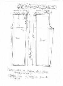 Esquema de modelagem de calça de moletom masculina tamanho 44.