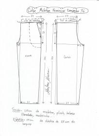 Esquema de modelagem de calça de moletom feminina tamanho 36.