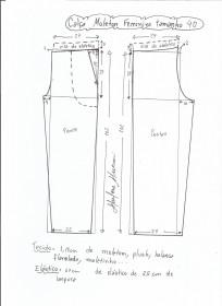 Esquema de modelagem de calça de moletom feminina tamanho 40.