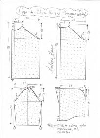 Esquema de modelagem de capa de chuva tamanho P.