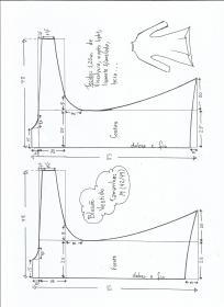 Esquema de modelagem de blusão vestido tamanho M.