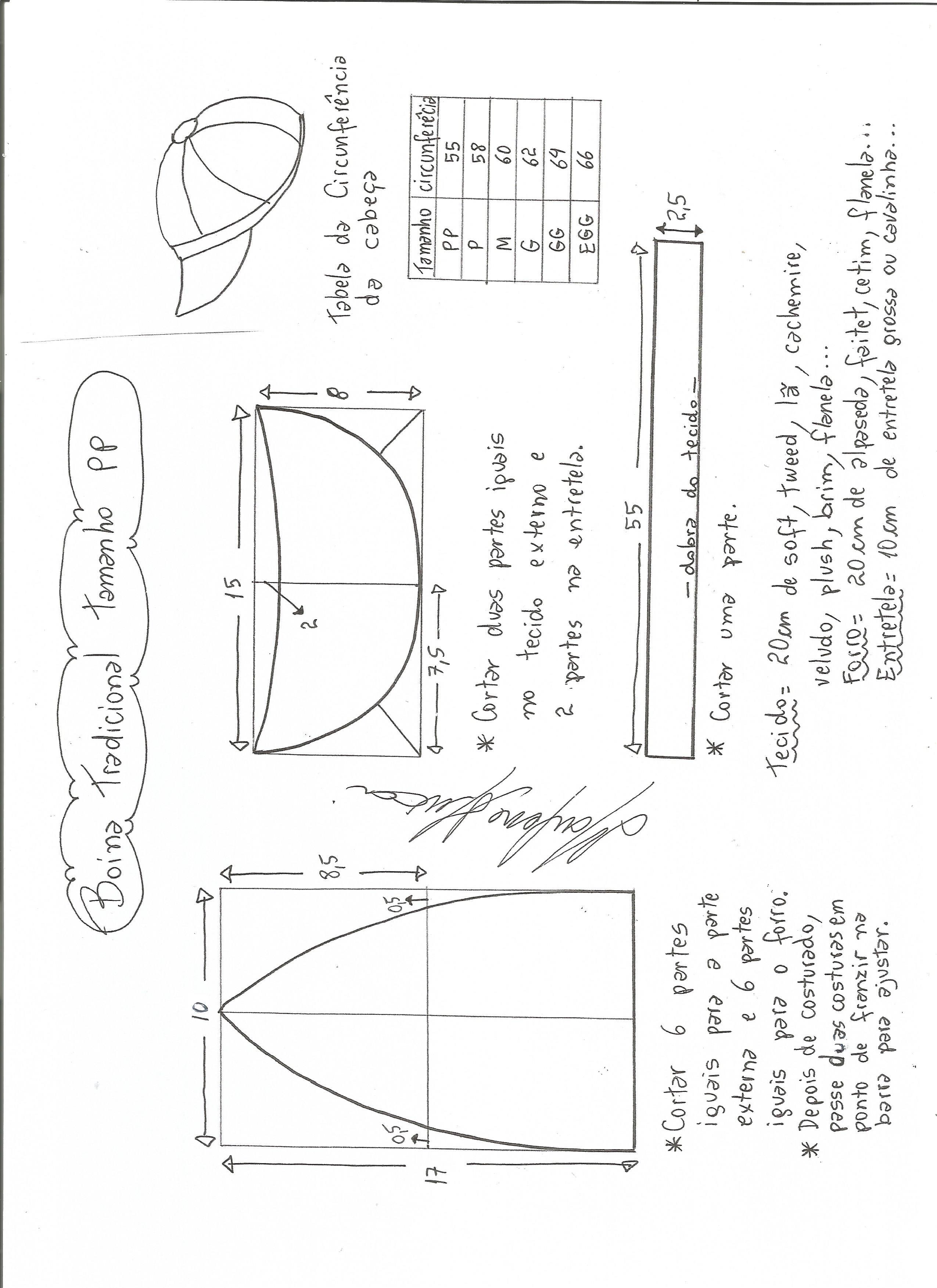 69e171d1aac3b Esquema de modelagem de boina tradicional tamanho PP.
