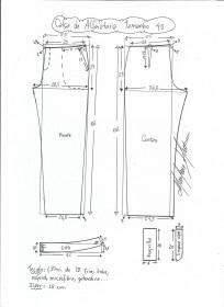 Esquema de modelagem de calça alfaiataria tamanho 40.