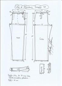 Esquema de modelagem de calça alfaiataria tamanho 48.