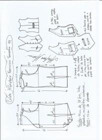 Esquema de modelagem de colete feminino alfaiataria tamanho 44.