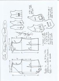 Esquema de modelagem de colete feminino alfaiataria tamanho 52.