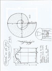 Esquema de modelagem de Sobretudo com gola jabour tamanho P. 2ª Parte.