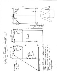 Esquema de modelagem de blusa transpassada tamanho 36.