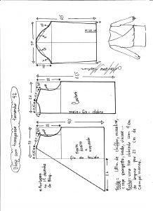 Esquema de modelagem de blusa transpassada tamanho 42
