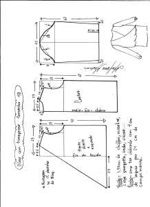 Esquema de modelagem de blusa transpassada tamanho 48.