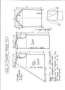 Esquema de modelagem de blusa transpassada tamanho 54.