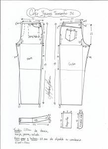 Esquema de modelagem de calça jeans tradicional tamanho 36.