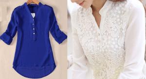 Esquema de modelagem de blusa com abertura e meio colarinho do 36 ao 56.