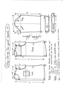Esquema de modelagem de camisa sem pences tamanho 46.