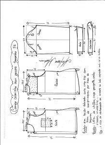 Esquema de modelagem de camisa sem pences tamanho 56.