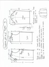 Esquema de modelagem de casaqueto gola alta com manga 3/4 tamanho 52.