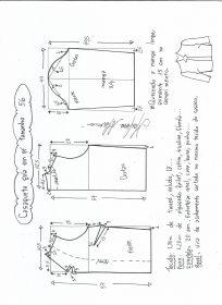 Esquema de modelagem de casaqueto gola alta com manga 3/4 tamanho 56.